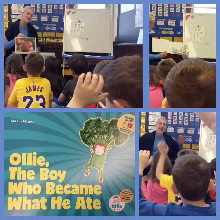 Ollie, The Boy Who Became What He Ate author @SheenaMacrae joined us at Tupper today visiting 3 classes, sharing about Healthy Foods & Super Powers! @OllieClubHQ @CBCKids Making Every Meal an Adventure! @HRCEHealthPromo