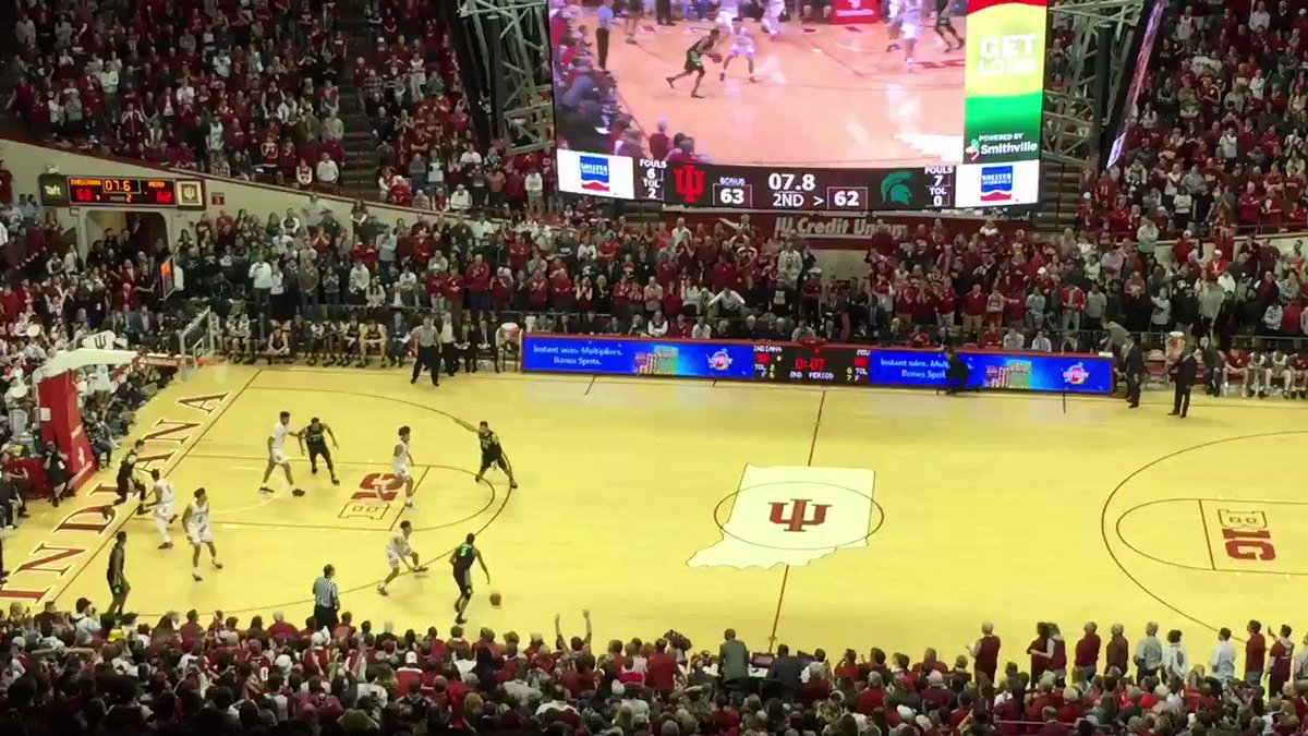 The last seconds of Indiana's win over Michigan State, and Assembly Hall's court-storming reaction. #iubb