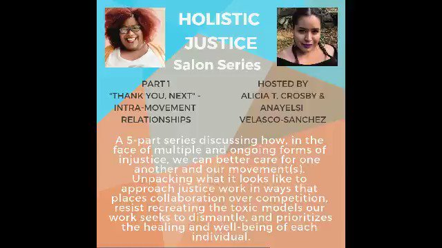 The first session of the #HolisticJustice Salon Series was 🔥🔥🔥  Don't worry! You haven't missed out. Register today to gain access to the complete session one recording and participate in the next 4 gatherings with me and @aliciatcrosby.   …https://holistic-justice-salon-series.eventbrite.com  #HJSalon