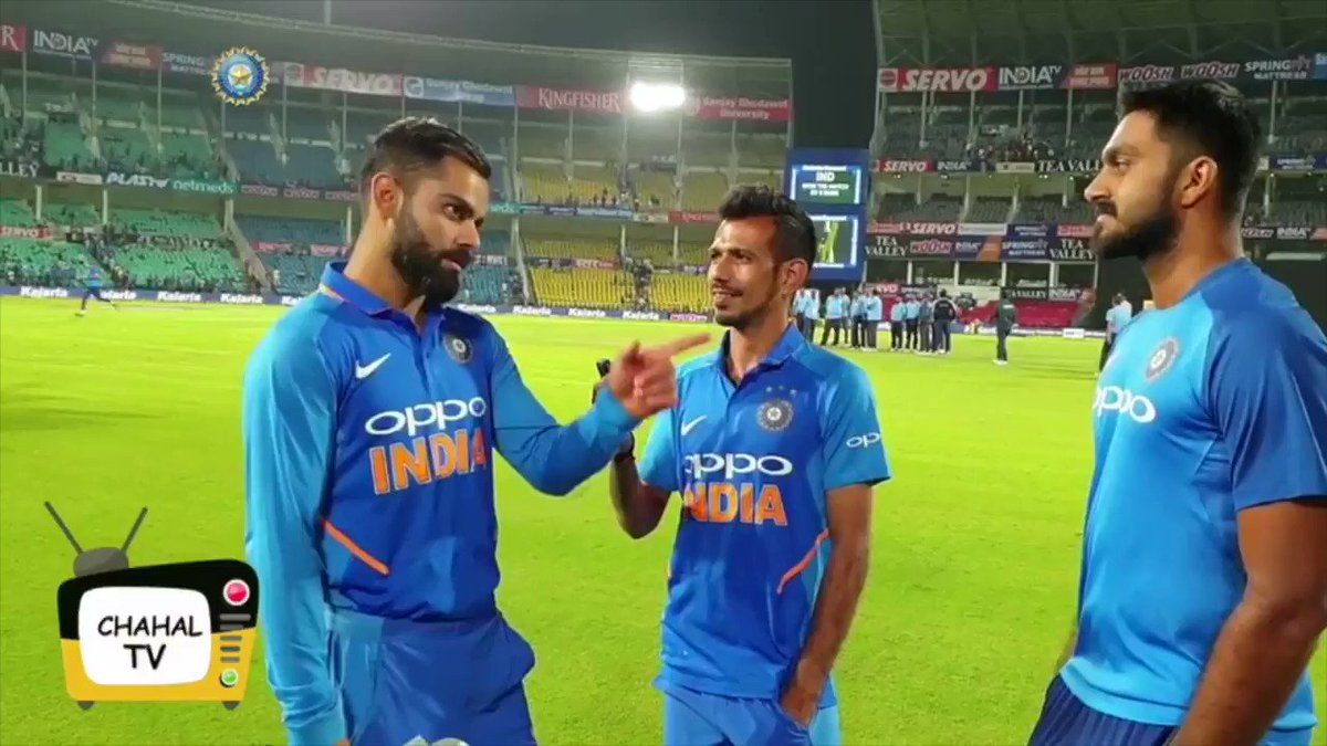 Men Of The Moment - Captain @imVkohli & ice cool @vijayshankar260 relive #TeamIndia's 500th ODI win in our latest episode of Chahal 📺 - by @28anand P.S. Did Vijay continue the rest of his interview in Hindi with @yuzi_chahal? 😁😁Full Video link here https://bit.ly/2TgBtLD