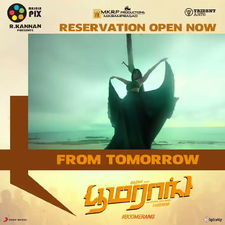 #Boomerang Reservations open now..  #BoomerangFromMarch8  @RJ_Balaji @akash_megha @Atharvaamurali @Actress_Indhuja @radhanmusic @Dir_kannanR @SonyMusicSouth @DoneChannel1 @digitallynow