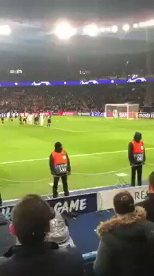 This Man Utd fan celebrating United's winner at PSG last night from the home end. Balls of steel 😂👏