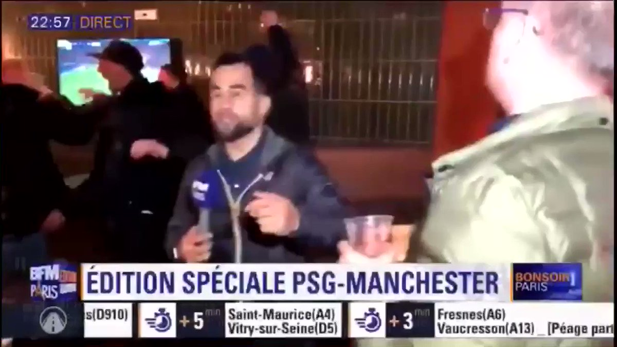 "It didn't quiet go as planned for this Paris news company. 😂  ""Ole's at the wheel Tell me how good does it feel""   (🎥 @BFMParis) #Mufc #ucl"