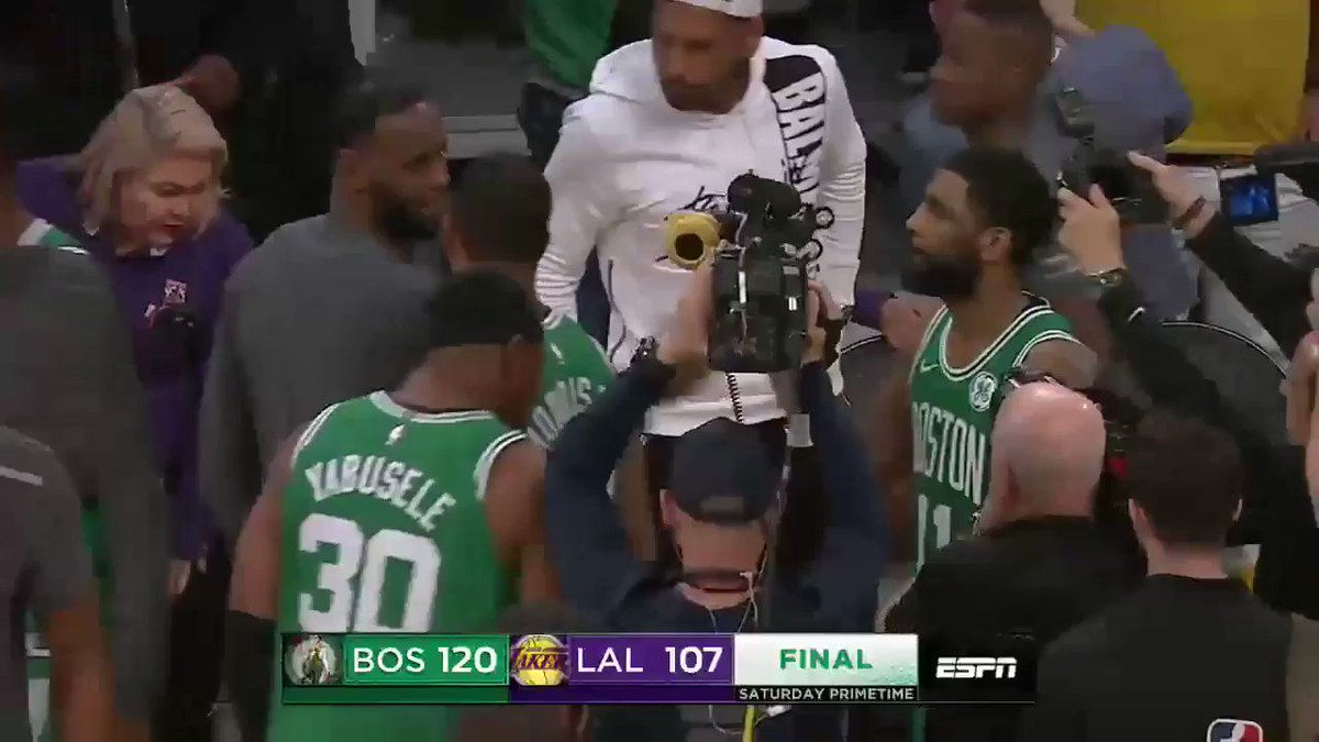 Nothing but love between LeBron and Kyrie. https://t.co/ciYzLiCxwj