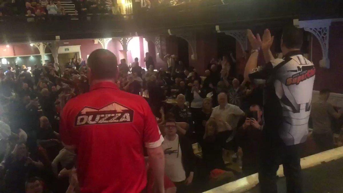 @Duzza180 does his Karaoke with @Superchin180 for @SCOTTISHDARTS2 #scotland #darts