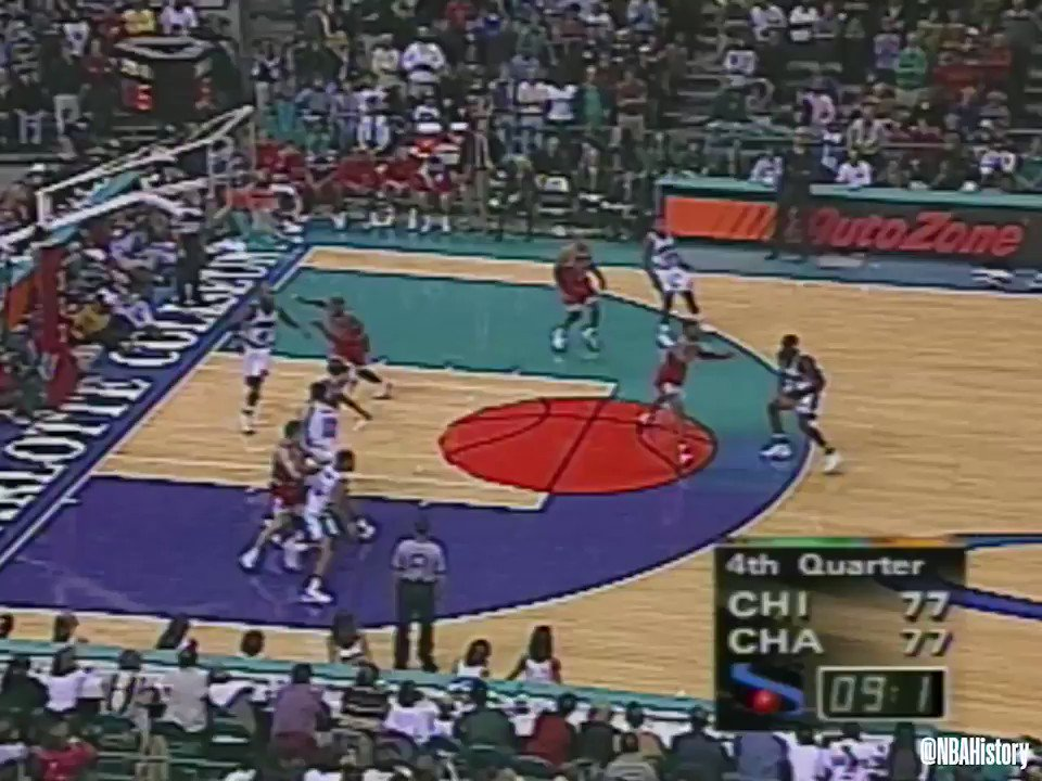 Dell Curry knocks down the jumper with 5.3 seconds to give the @hornets the win over CHI on Dec. 12, 1997.   @TeamLou23 passed Dell Monday for most points scored off the bench in NBA history. #NBAVault