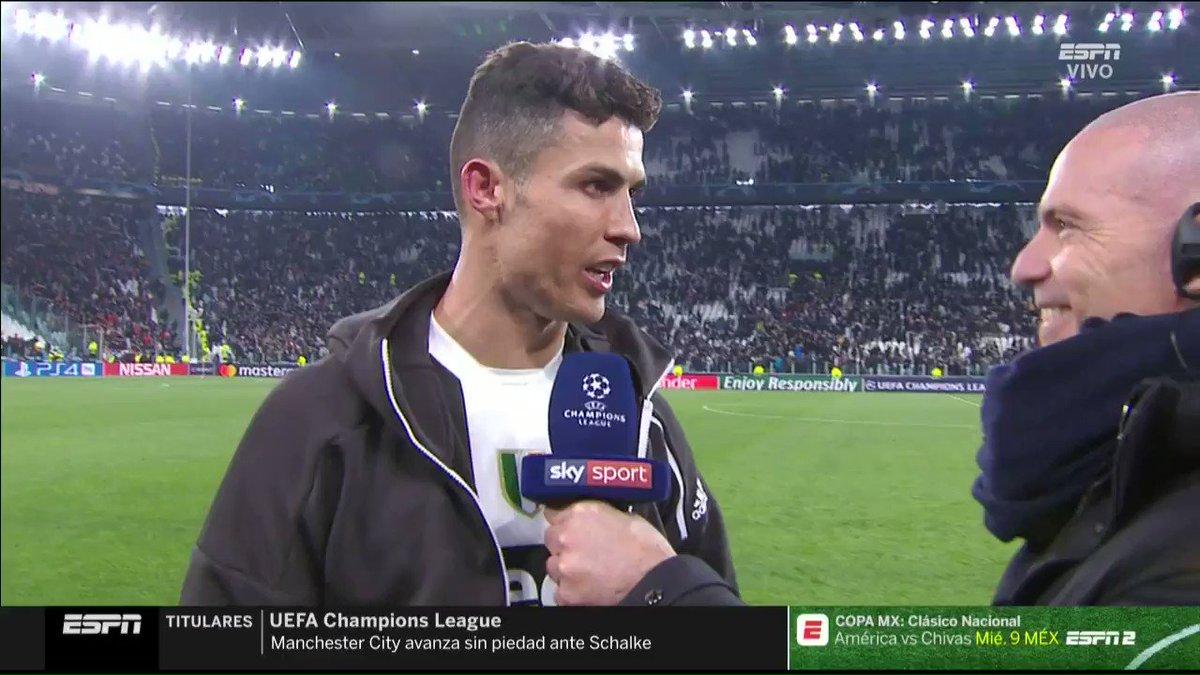 """""""Hoy demostramos que merecíamos pasar""""  Cristiano Ronaldo contundente y agradecido con el equipo después de la remontada en #ChampionsxESPN 😎"""