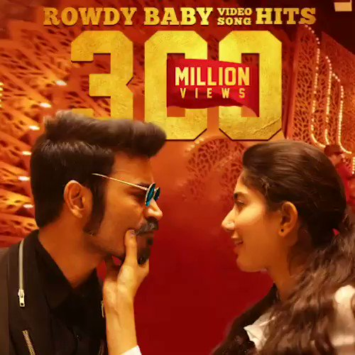 IT'S YOUR LOVE WHICH IS MAKING #ROWDYBABY SPECIAL FOR US! ❤️ #Massive300MViewsForRowdyBaby   @dhanushkraja @Sai_Pallavi92 @thisisysr @PDdancing @AlwaysJani @directormbalaji @vinod_offl @divomovies @RIAZtheboss