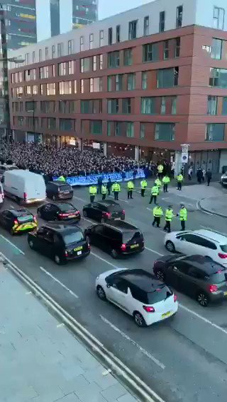 Shalke fans on their way to the Etihad