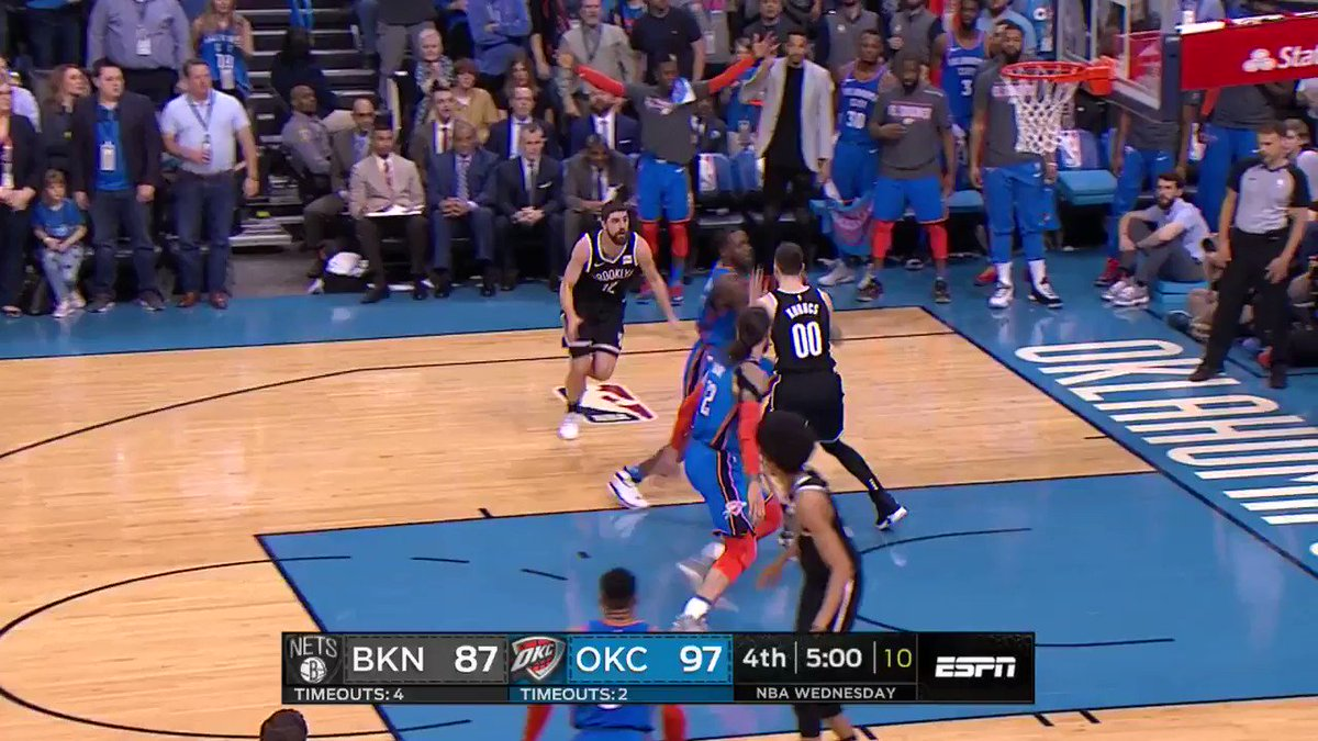 Russ for 3 caps a 12-0 @okcthunder burst! #ThunderUp  3:30 left on @ESPNNBA https://t.co/7vc0eAjvGQ