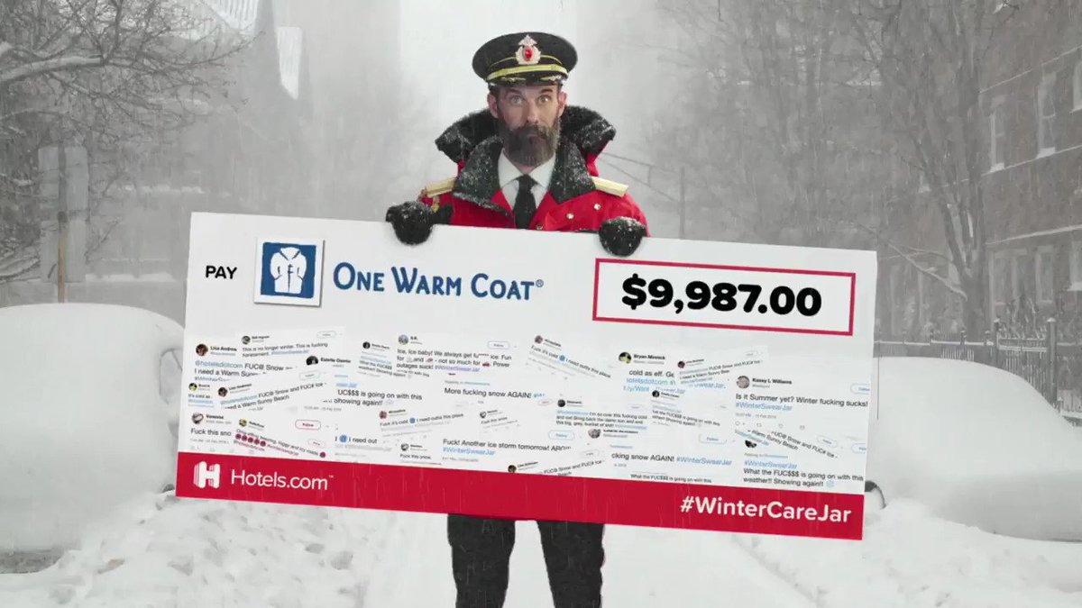 Thanks for the big check, @Hotelsdotcom, but mostly, thanks to the thousands of you who swore about the cold and added a quarter to the #WinterSwearJar. Today, every f-bomb dropped will help provide free warm winter coats for people in need! http://bit.ly/2SptwlU  #WinterCareJar
