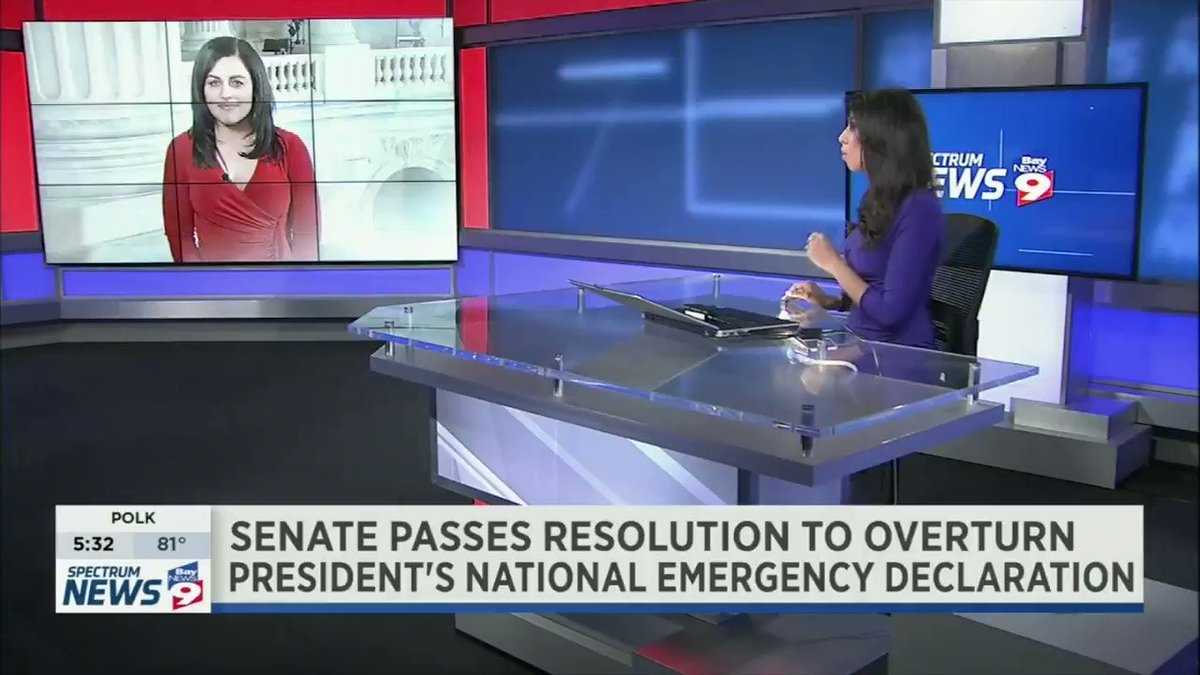 The Senate voted to block President Trump's emergency declaration to fund a border wall, setting up the first veto of President Trump's administration. Florida's two Republican senators split on this vote - I've got more details in a LIVE report tonight on @BN9