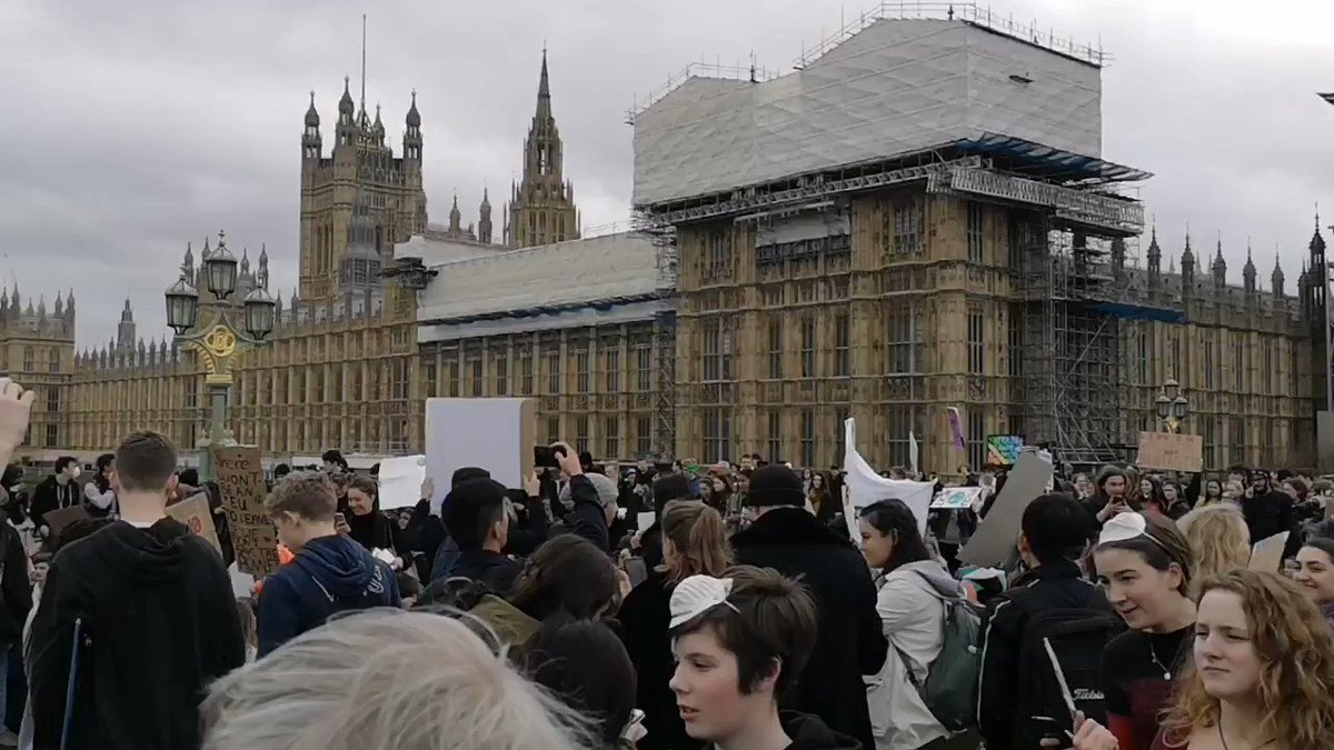 Young climate change protesters are now blocking Westminster Bridge