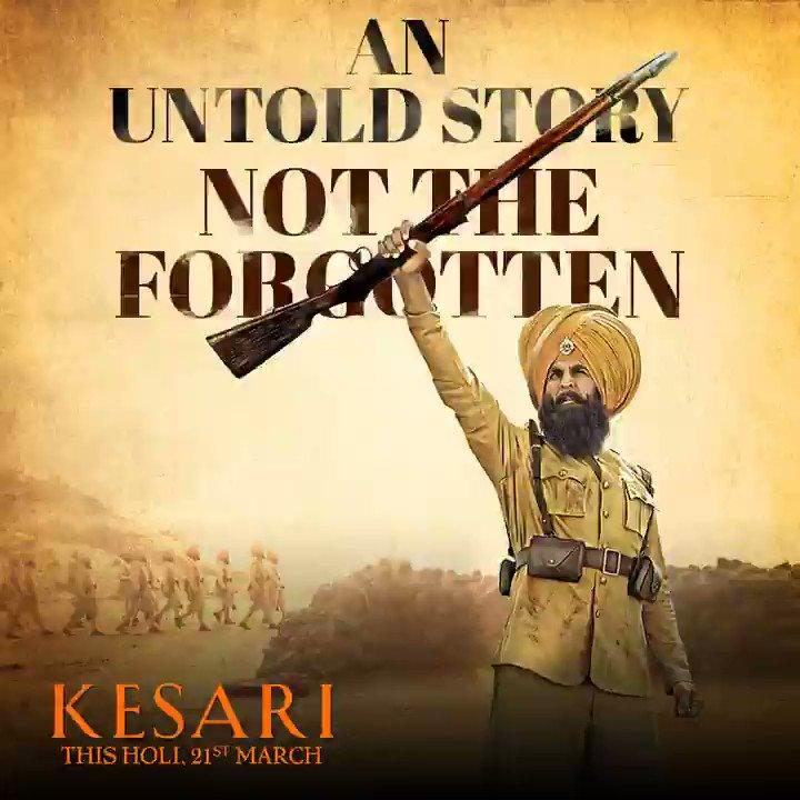 Relive the true untold story of the bravest battle in history in 6 days. #Kesari in cinemas this #Holi, 21st March - http://bit.ly/Kesari-PreTix  @ParineetiChopra @SinghAnurag79 @karanjohar @apoorvamehta18 @SunirKheterpal @DharmaMovies #CapeOfGoodFilms @iAmAzure @ZeeStudios_