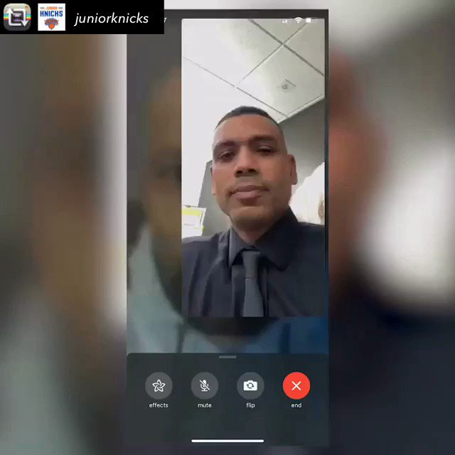 The @juniorknicks recorded the surprise FaceTime call from @nyknicks legend @ALLAN_HOUSTON to #BigAppleBasketball coach @jasoncurry_nyc to notify him that he was the winner of the 2019 Junior Knicks Coach of the Year. The news brought tears to his eyes.