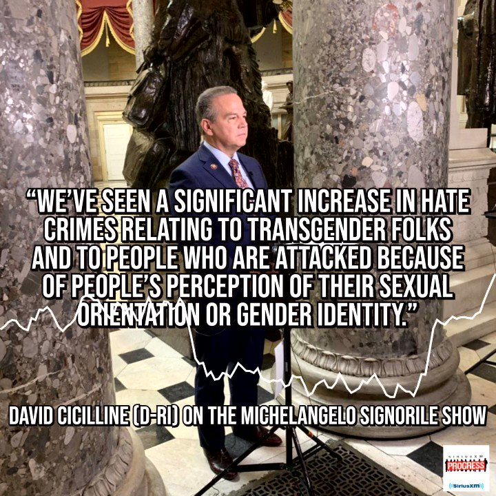 """""""We've seen a significant increase in hate crimes relating to transgender folks and to people who are attacked because of people's perception of their sexual orientation or gender identity"""" Rep. @davidcicilline discussing the need for the #EqualityAct on The @MSignorile Shoow"""
