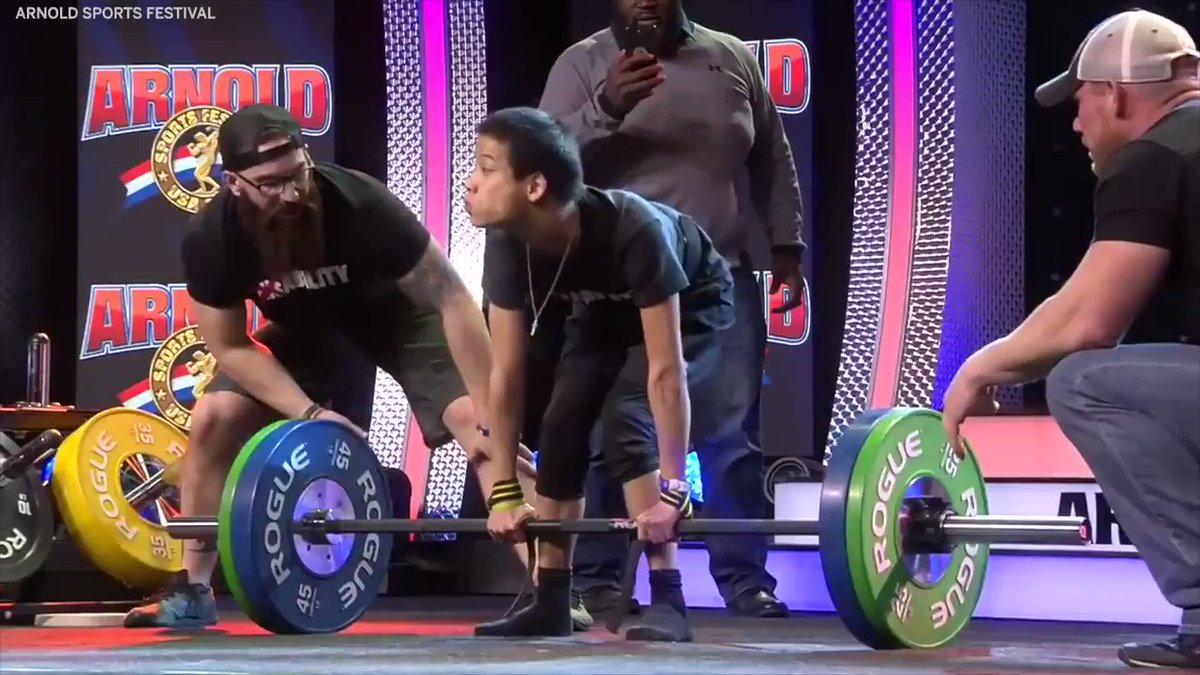 """In February, Miles Taylor's viral deadlift video caught the eye of @Schwarzenegger, who called the athlete with cerebral palsy his """"hero.""""  A month later, Taylor got to flex in front of Arnold at his event 💪"""