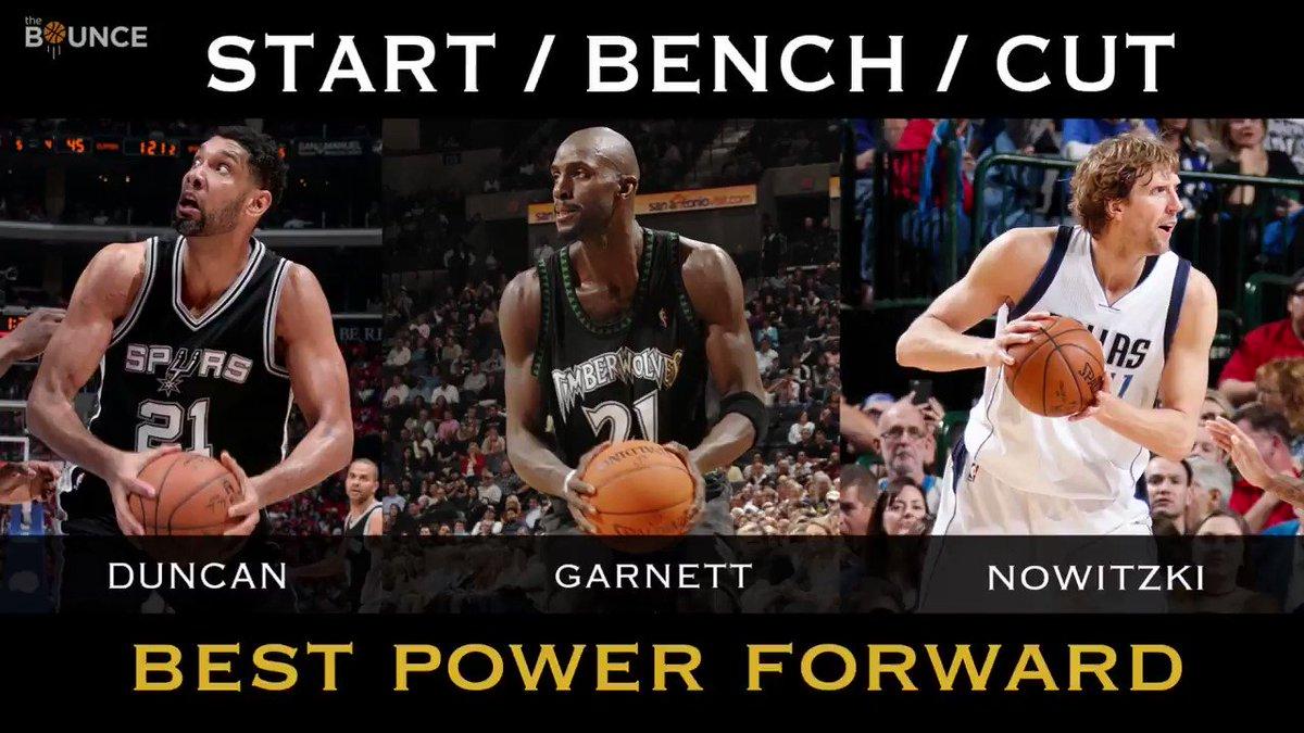 Start. Bench. Cut. Kevin Garnett. Tim Duncan. Dirk Nowitzki.  What are you doin'? ⤵️ #TheBounce