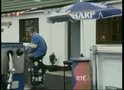 Never be without a seat in the pub with this 50cc mobile bar stool.  #StPatricksWeekend . Courtesy of RTE Archives.