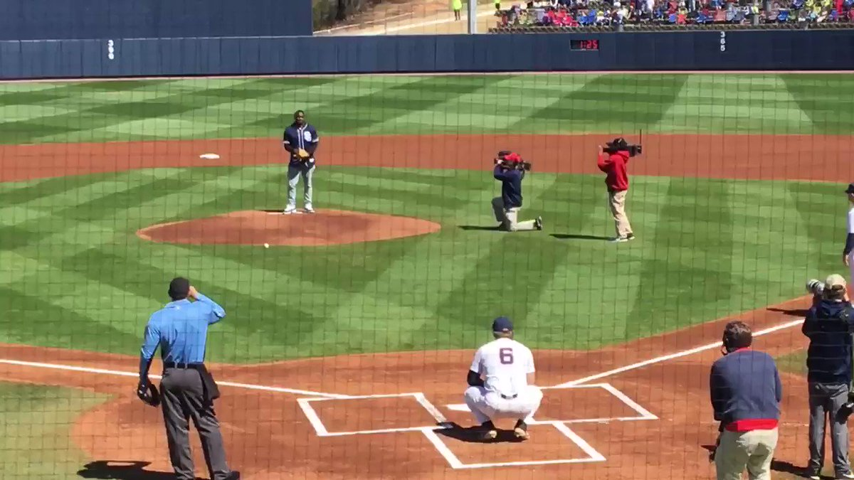 AJ Brown with an absolute strike first pitch for #OleMiss @Padres, thoughts?