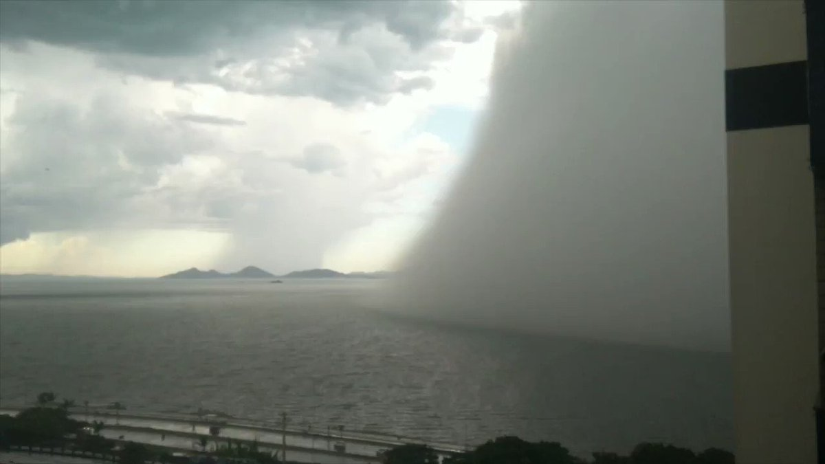 Image for the Tweet beginning: Microburst and Translucent Waterspout seen