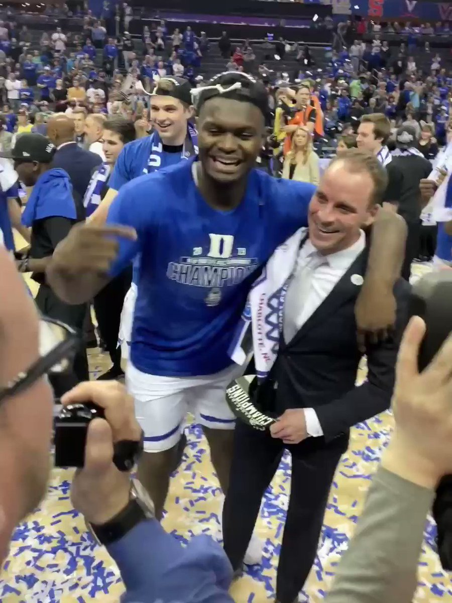 """Zion Williamson gives the due recognition to #Duke's Nick Potter, making sure the man who helped him heal and play in the #ACCTourney is in front of cameras.  """"This is the guy right here — REHAB KING."""""""