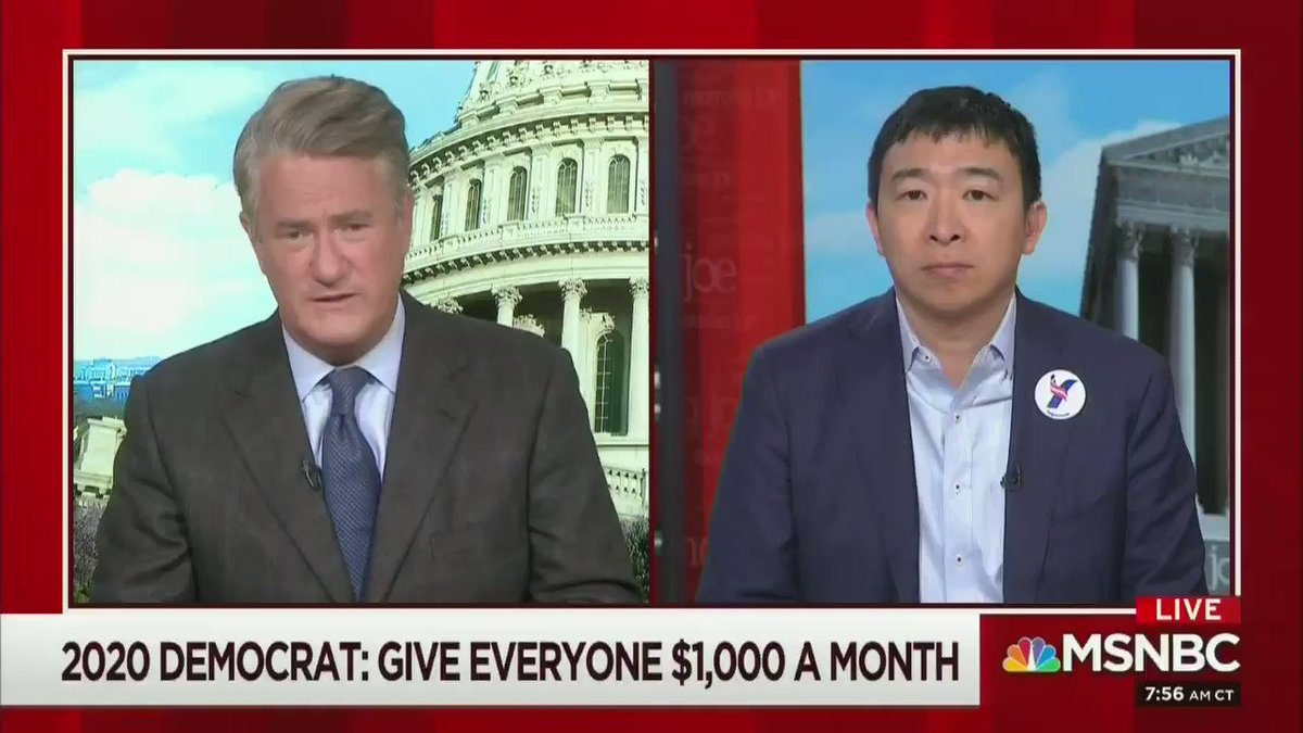 "Presidential candidate @AndrewYangVFA wants to give every American $1,000 a month.   He says he'll pay for it by taxing @amazon   ""It's about 1.8 trillion,"" he said. ""We need to pass a value added tax that would get the American people a slice of every Amazon transaction."""