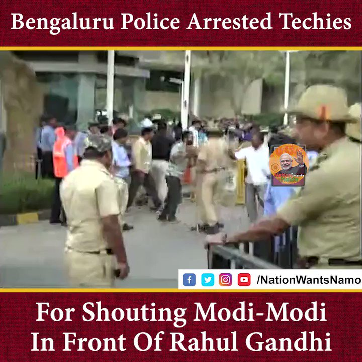 "Techies arrested for shouting ""Modi-Modi"" and ""Bharat Mata Ki Jai !  Now Democracy in danger gang where are you ?  #YouthRejectsCongress"