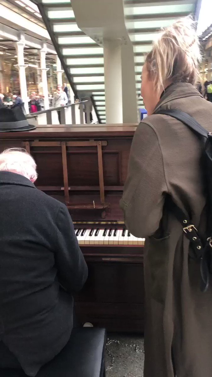"""We're on our way to Brussels for the next leg of @CatsMusical tour. I saw this guy playing and called @CeiliOConnor as I knew he needed a singing partner. Captured a bit of the magic here. He was so sweet, saying Ceili """"made his day"""" and that she must be """"in a show"""". Precious x"""