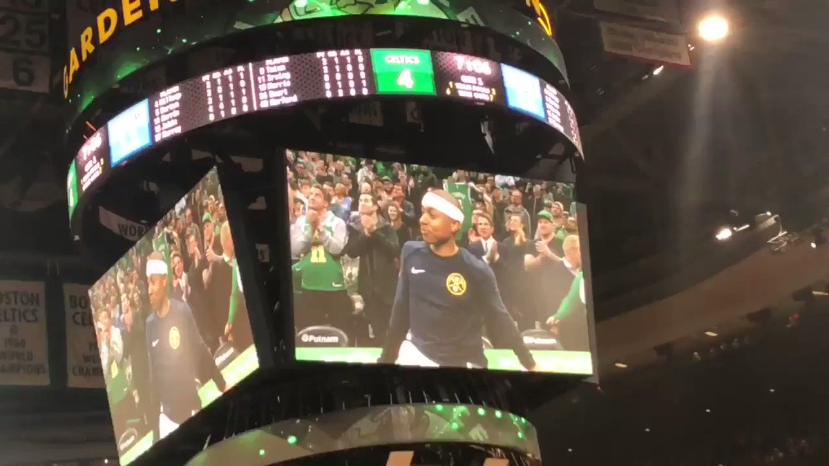 Here's Isaiah Thomas's reaction to the response from the Boston crowd following his video tribute: