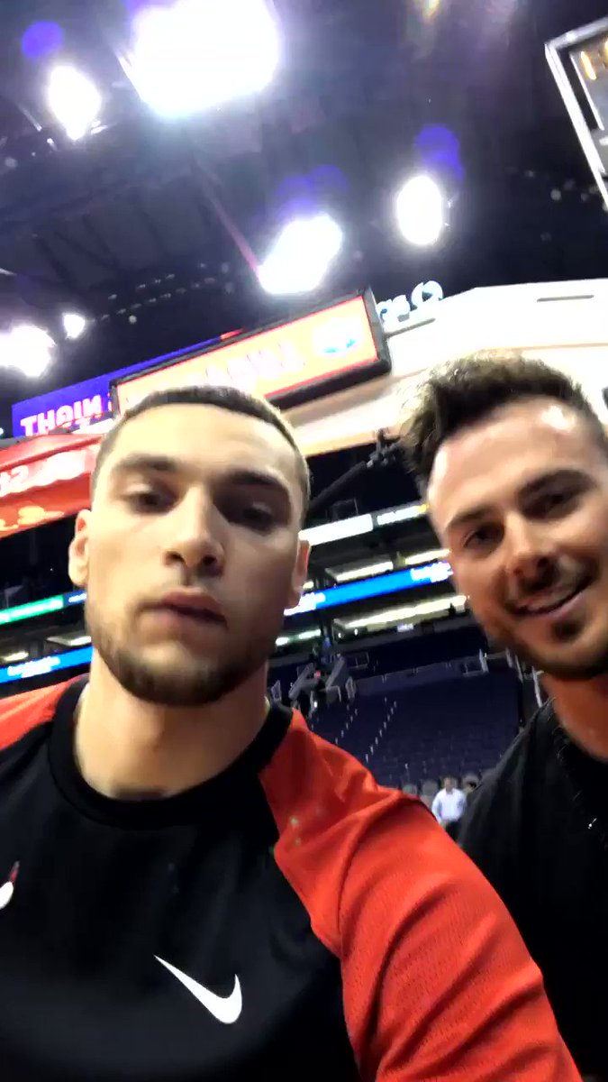Chicago is representing in Phoenix right now with @ZachLaVine and @KrisBryant_23 🔥  CC: @Cubs