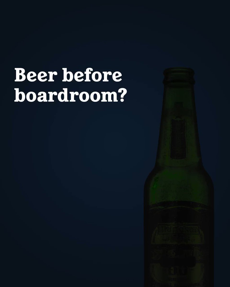 Image for the Tweet beginning: 1pm lunchtime drinks. 2pm boardroom
