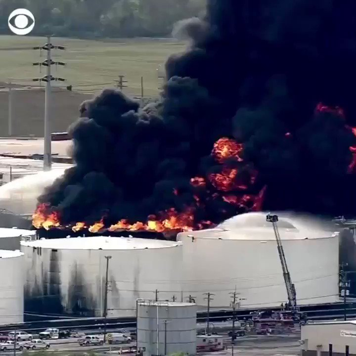 Huge flames and black smoke fill the sky near Houston, Texas, after a chemical plant caught fire.