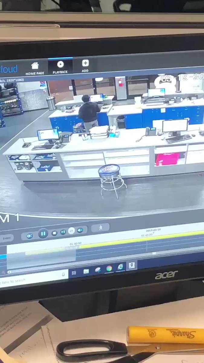 JUST IN: Surveillance video shows suspect drive stolen car into Crunch Fitness in La Mirada — ID'd as 32-year-old Sergio Reyes, former member. He's been arrested on attempted murder charge. #abc7eyewitness