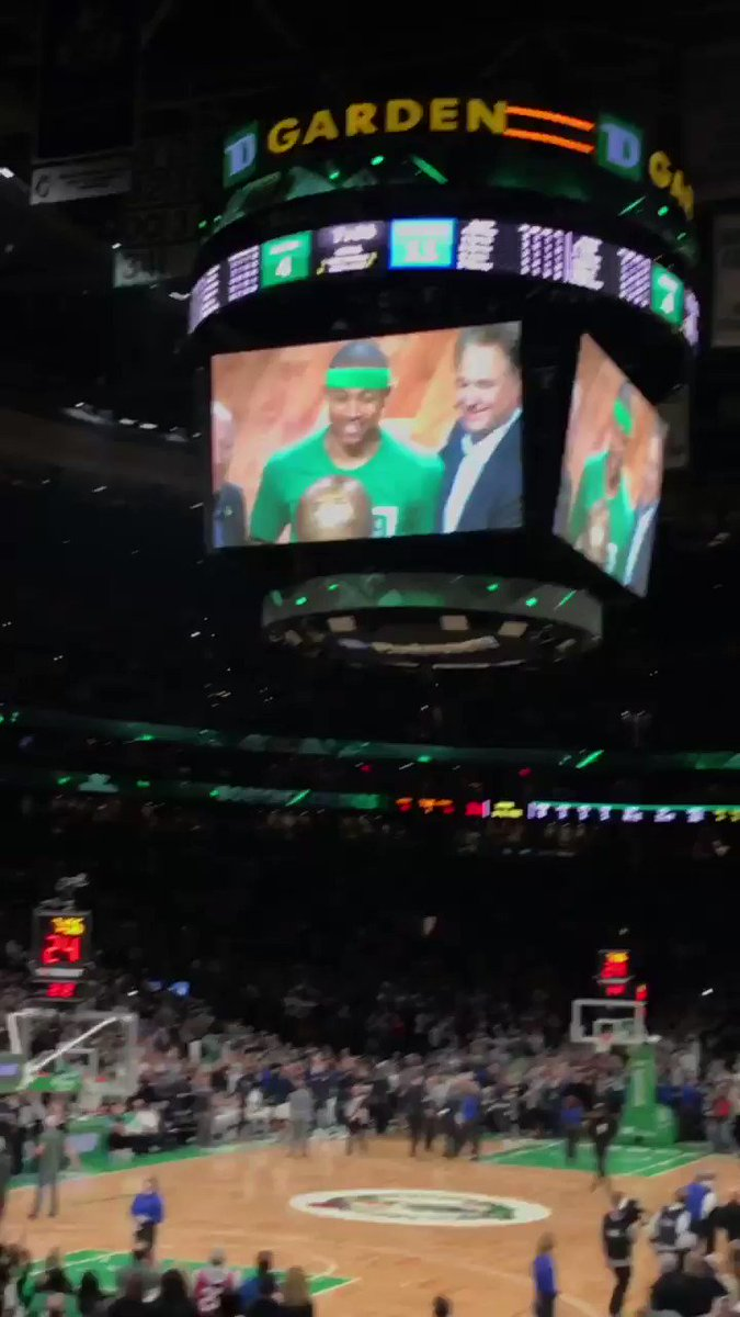 A much deserved and heartfelt video tribute to @isaiahthomas by the #Celtics!   #ThankYouIT #KingOfTheFourth – at TD Garden