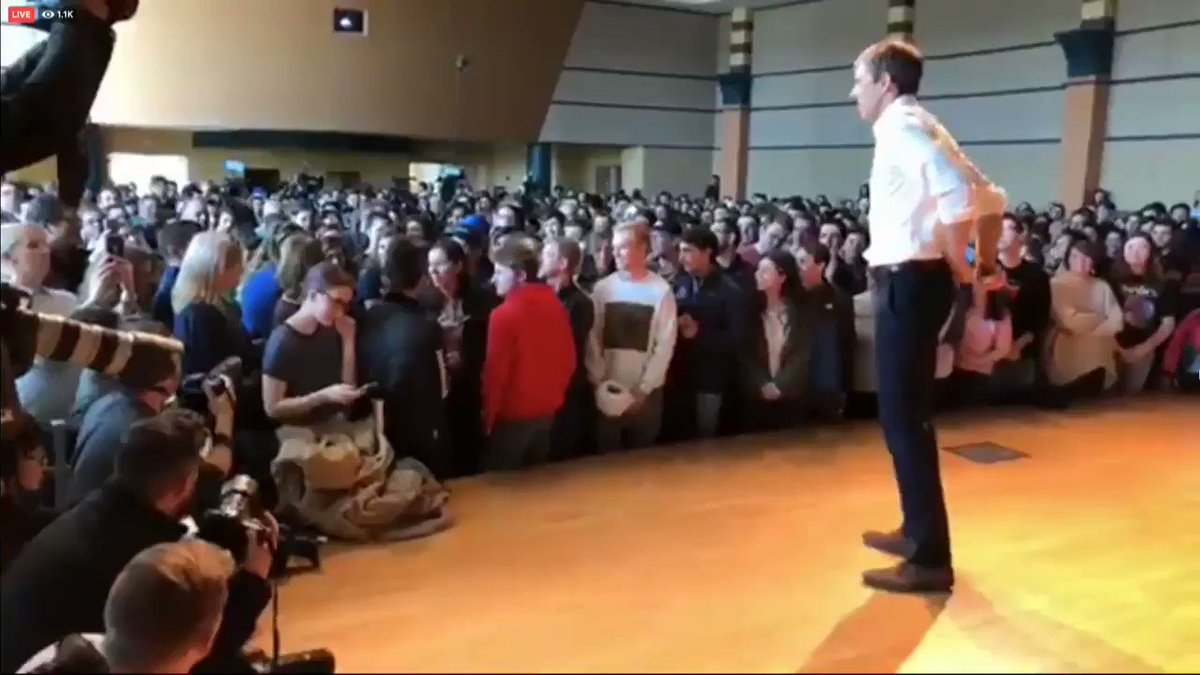 "A person in the audience confronts Democrat Beto O'Rourke: ""When am I going to get an actual policy from you instead of platitudes and nice stories?"""