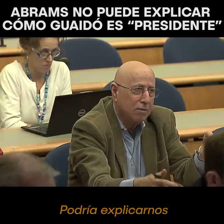 """Elliot Abrams no puede explicar cómo es que Guaidó es """"presidente interino"""",llega a afirmar que """"él no está en el poder""""  Ninguno de los supuestos de la falta absoluta del presidente @NicolasMaduro se cumplió y este sigue en funciones  ¿Guaidó preside un interinato que no existe?"""