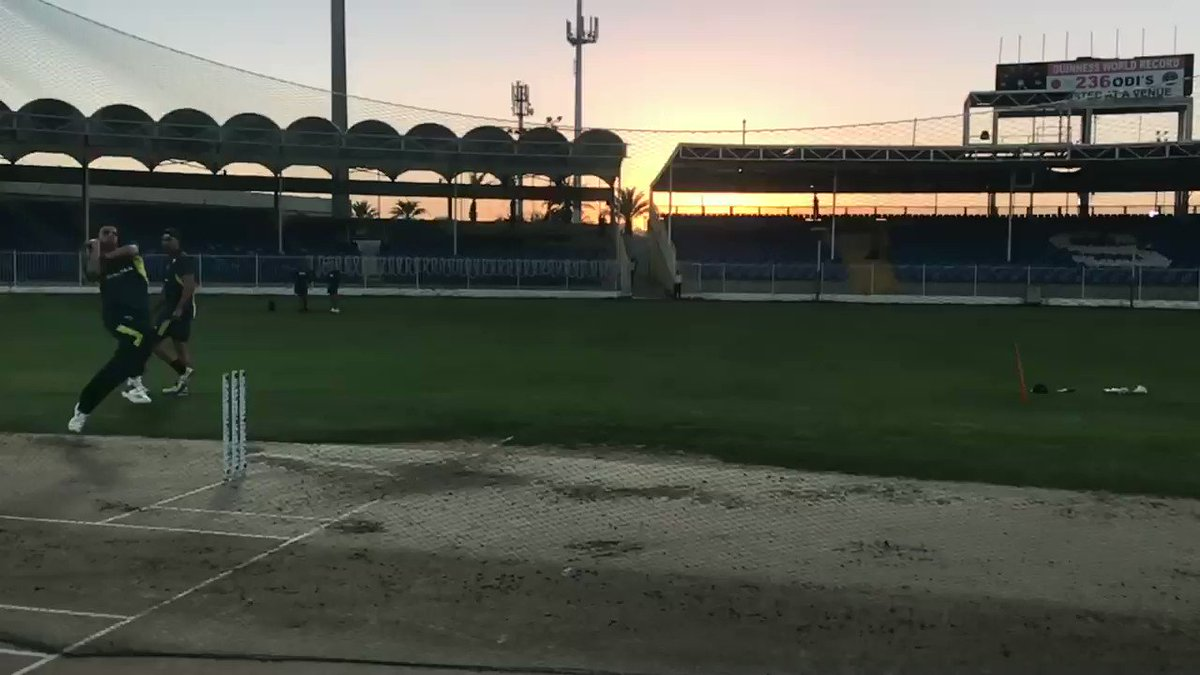 .@CricketAus Jhye Richardson trains hard under a setting sun in Sharjah. The #PAKvAUS ODI series starts on Friday. 🏏 https://t.co/EvLzBYdS1n