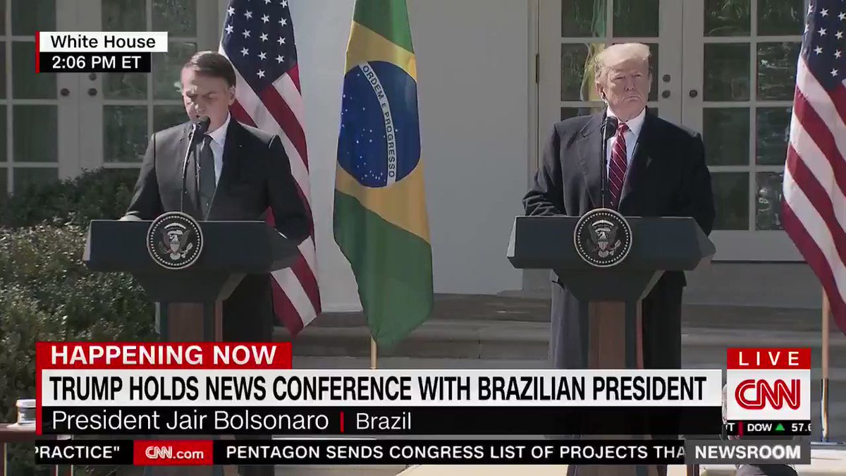 """Brazil and the United States stand side by side in their efforts to ensure liberties in respect to traditional family lifestyles, respect to God our creator, against the gender ideology or the politically correct attitudes, and against fake news."" - @jairbolsonaro   Uh..."