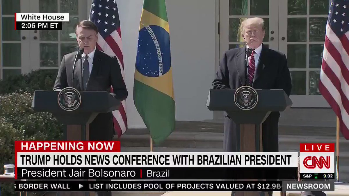 """Here's Trump just nodding his head along as Bolsonaro talks about how Brazil and the U.S. are joined """"side by side"""" in a fight against trans people."""