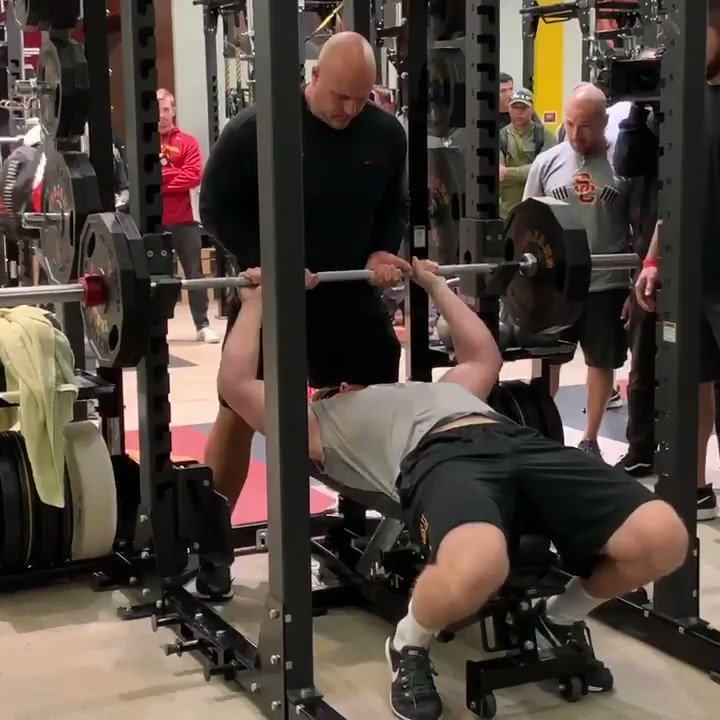 At USC's pro day, @JakeOlson61 did 17 reps in the bench press as part of a fundraising campaign to fight cancer.  He is fundraising for a medical procedure that, had it existed a decade ago, might have prevented him from going blind.