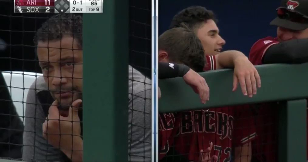 Pretty cool father/son moment here. Alek Thomas hits a HR vs Lucas Giolito and the White Sox. Alek's dad is the White Sox strength and conditioning director