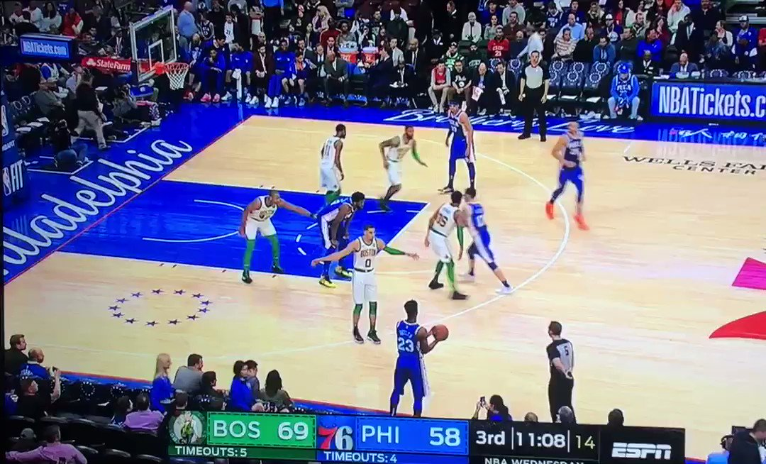 Embiid sets a dirty screen on Marcus Smart and Marcus sends Embiid flying👀