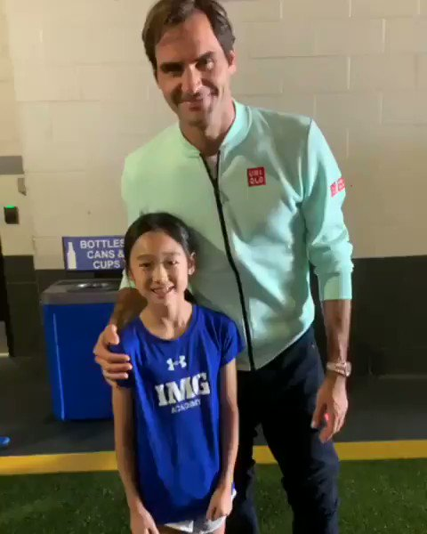 """(IG evelynnlovestennis)  """"In 2 hours I'll be 9 years old and today my dreams came true. I met Roger Federer and he wished me a Happy Birthday! 🎂 I am going to train harder and harder because I love 🎾 and  want to be a bro. #MiamiOpen #Rogerfederer #imgacademy """""""