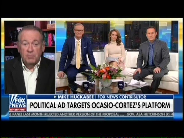 Just a normal Fox & Friends segment on Rep. Alexandria Ocasio-Cortez.  Kilmeade: Somebody's writing her questions [at hearings]... there are some forces behind her.  Mike Huckabee: There have been some allegations she was almost like the Manchurian Candidate, recruited, prepared.
