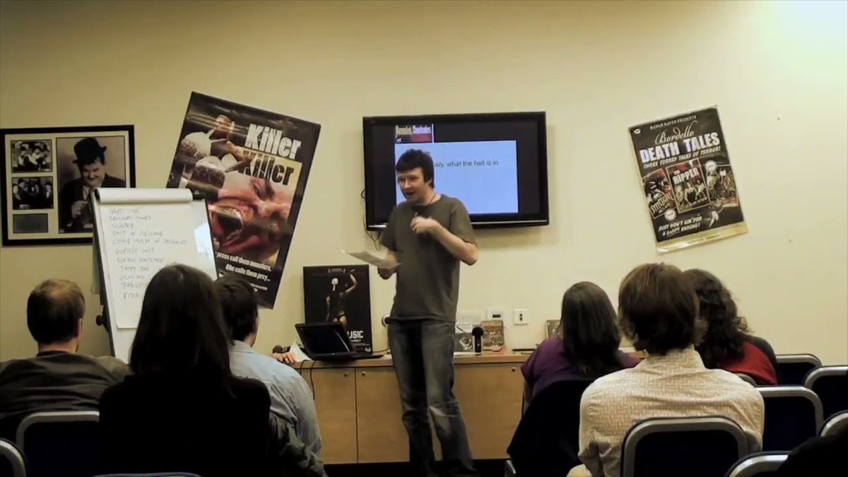 If you make horror movies, you end up with a loft full of very suspicious looking items. How suspicious? Well, here's a clip from my 2013 show Werewolves, Cheerleaders and Chainsaws about that very problem. #filmmaking #horror