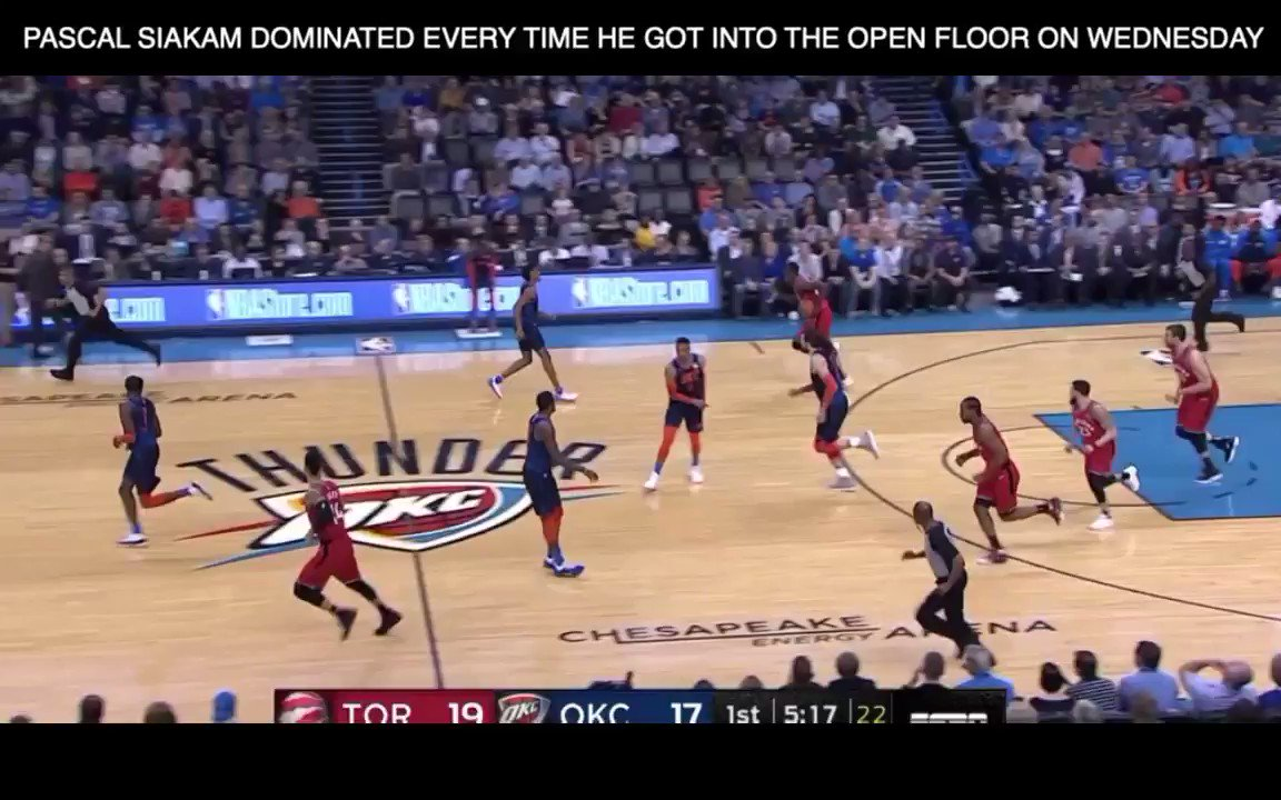 Last Night, In Basketball (3-20-19)  Pascal Siakam's ridiculous speed in the open floor led to a dominant performance against the Thunder: 33 points, 13 rebounds, 6 assists. Siakam flew up the floor off makes, misses, and steals and was pretty much unstoppable in the open floor.
