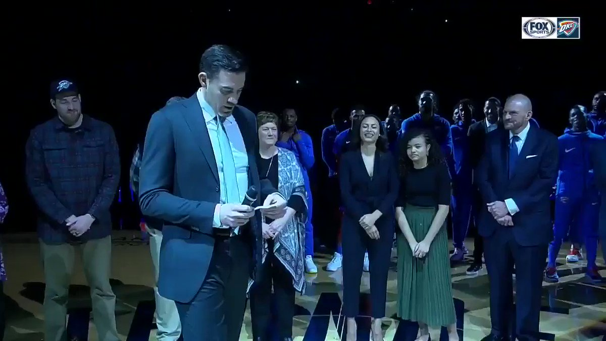"""ICYMI: Nick Collison takes a moment for a touching thank you to his parents.   """"I don't feel the need to go seek validation anywhere else because of the unconditional love and support they've shown me my whole life""""   #4MrThunder 
