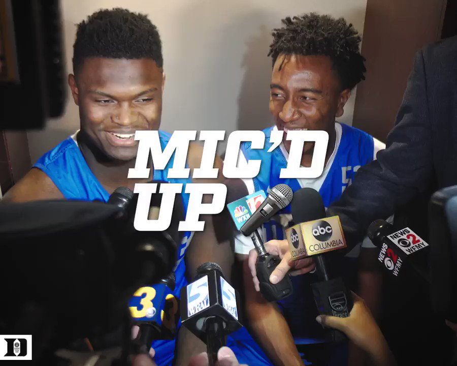 Mike'd up. 😎😏  @buckmike_00 x @ZionW32 on Media Day.   🎙️🔵👿 #MarchMadness #SI6HTS