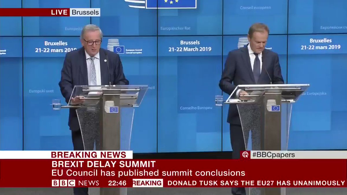 European Council President Donald Tusk tells media that EU leaders agree to delay the #Brexit process  - 22 May, if MPs approve UK PM's withdrawal deal next week, or - 12 April, if the deal fails  http://bbc.in/2HyuuaE